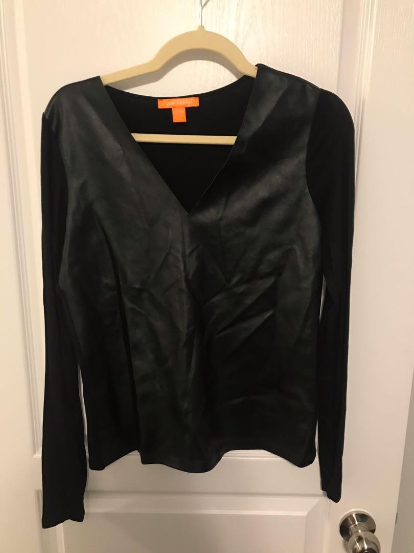 JOE FRESH: Faux Leather Black Top