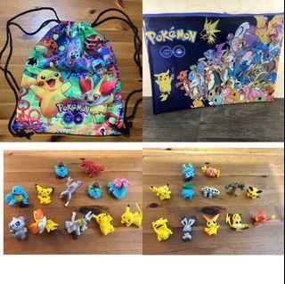 Pokémon figures 24 pieces # Pokemon string bag # Pokemon folder