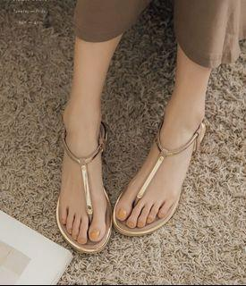 [PUFII]金屬邊夾腳丁字涼鞋