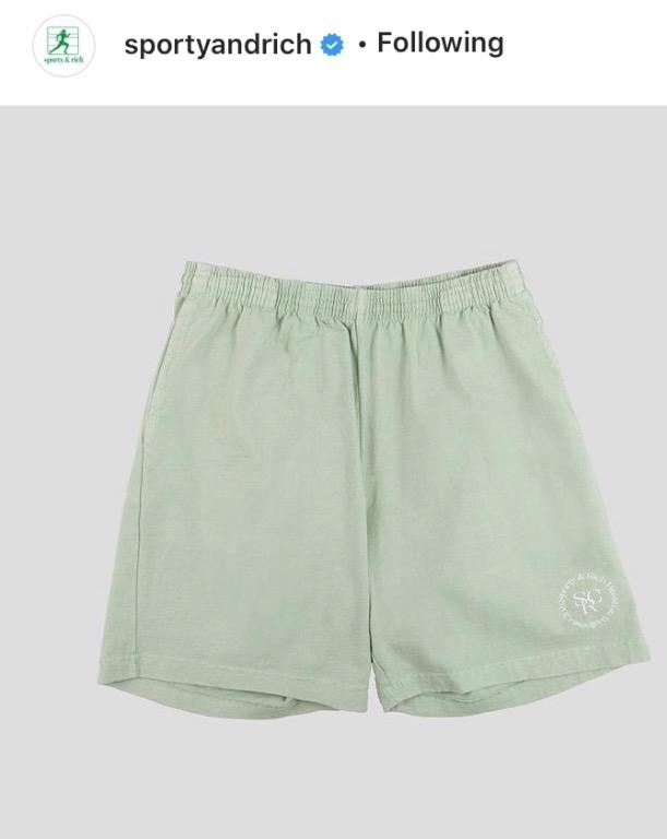 Sporty & Rich sage wellness shorts