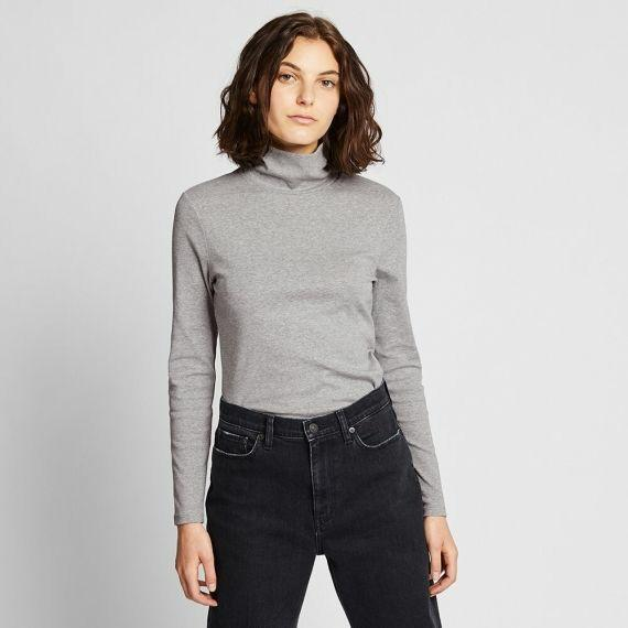 Uniqlo Cotton Turtleneck Heather Grey