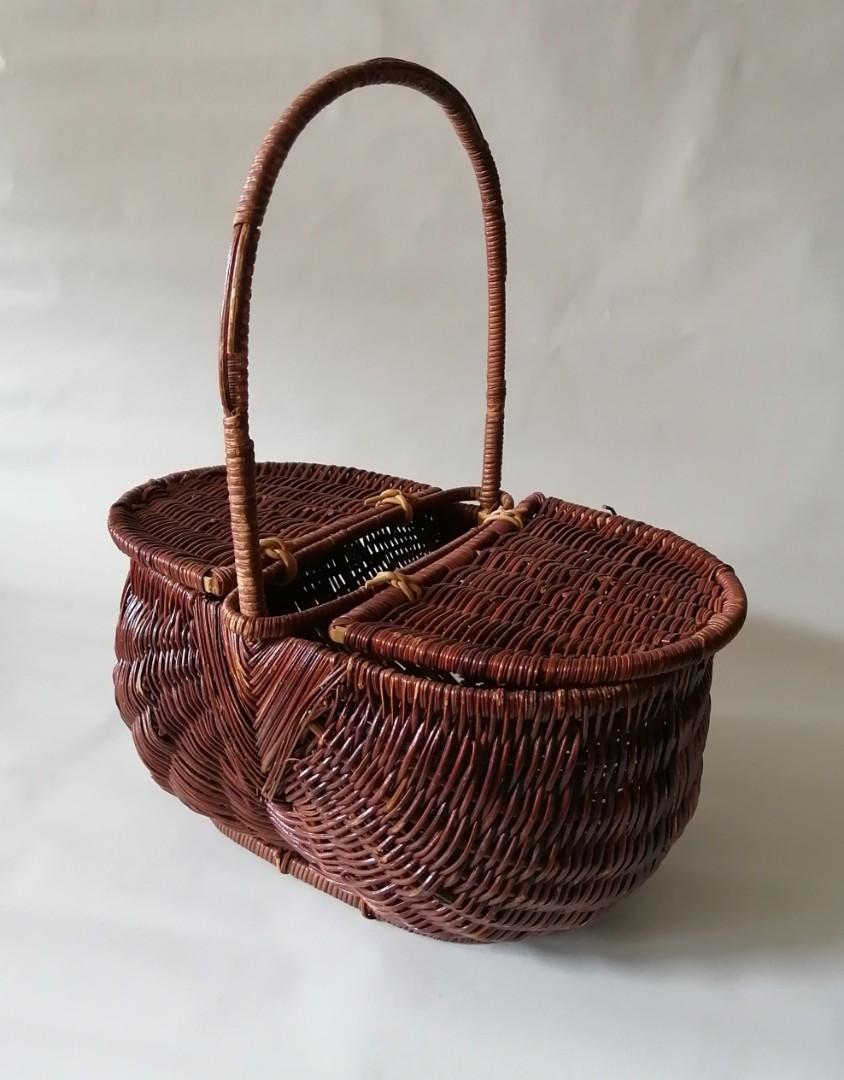 Wicker Double Lid Basket
