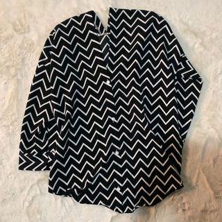 zigzag blouse (black&white)