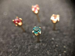 24kt Gold Plated Birthstone Gem Nose Studs, 3mm / Inverness Collection