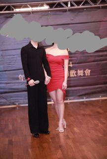 正韓國製氣質紅洋裝