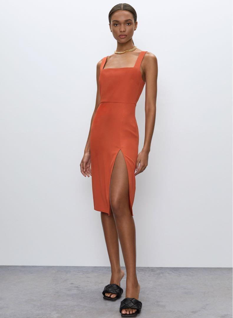 Aritzia 90's slit dress (orange, size 4)