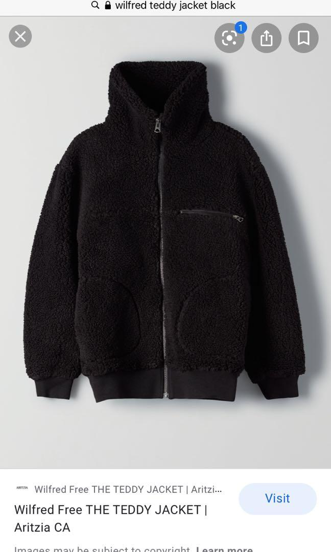 ARITZIA WILFRED TEDDY BOMBER JACKET IN BLACK SIZE LARGE