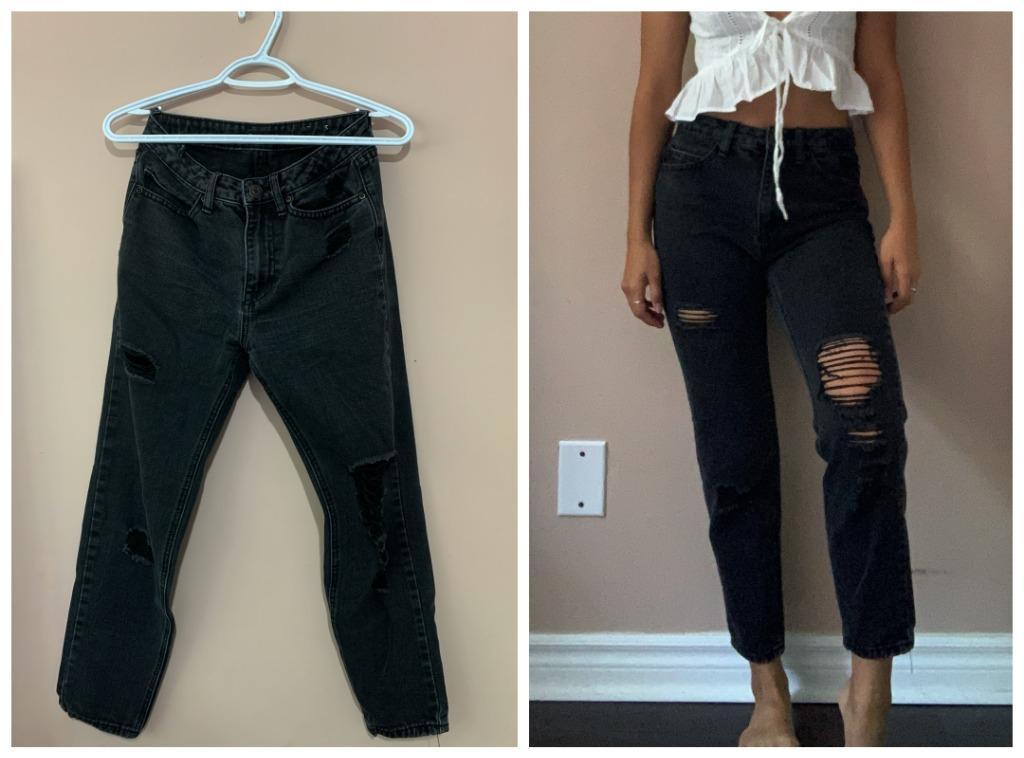 Black Distressed Mom Jeans (High Waist)