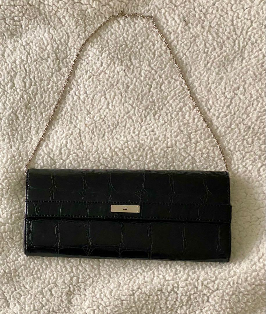 (brand new) black leather shoulder bag/clutch!