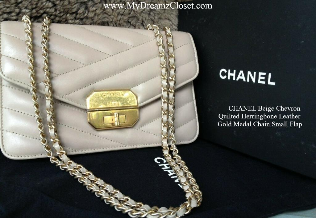CHANEL Beige Chevron Quilted Herringbone Leather Gold Medal Chain Small Flap