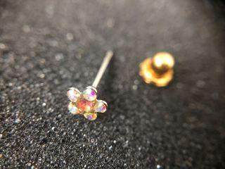 Crystal Gem Flower Palladium Nose Stud Piercing / Inverness collection