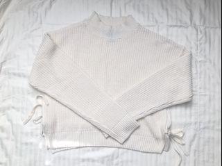 Forever 21 White Mock Neck Knit Sweater