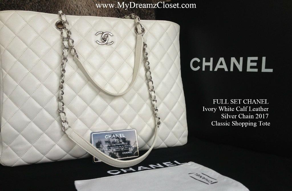 FULL SET CHANEL Ivory White Calf Leather Silver Chain 2017 Classic Shopping Tote