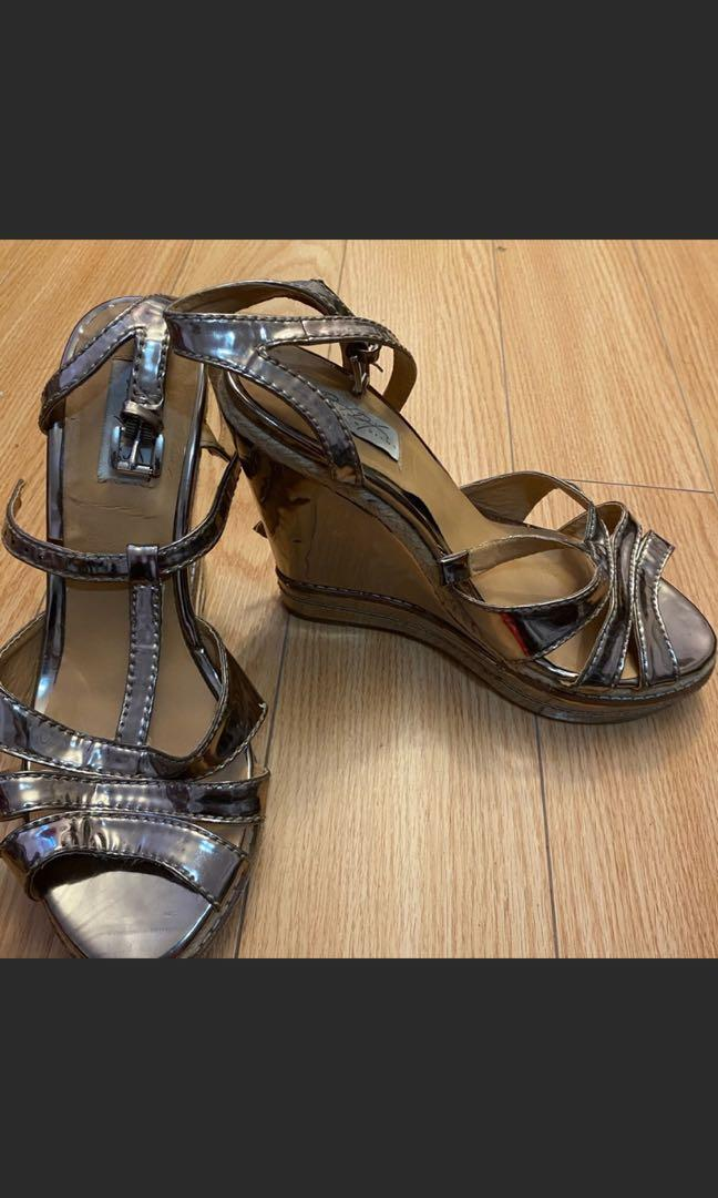Gold wedge shoes size 10