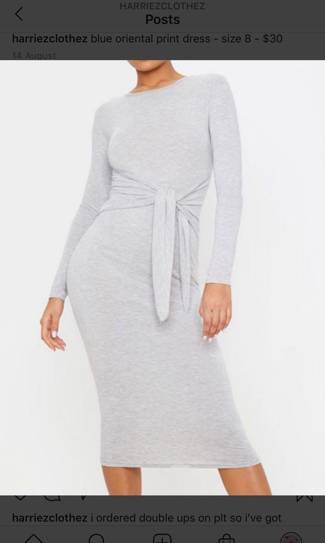 grey long sleeved dress