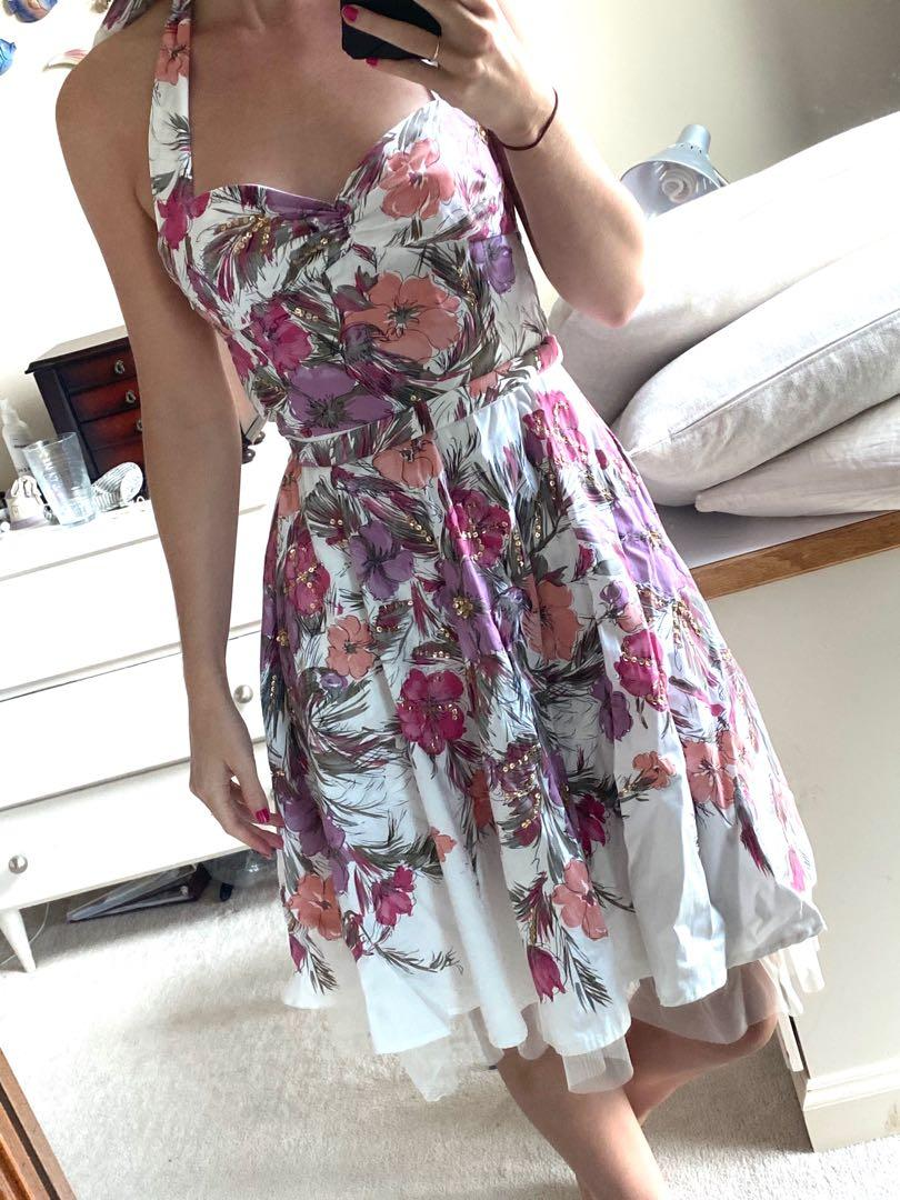 GUESS Pink & White Floral Halter Dress - Size XS