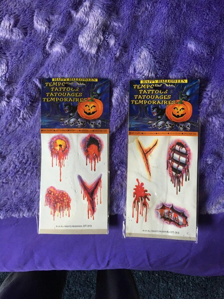 Halloween temporary tattoo packs