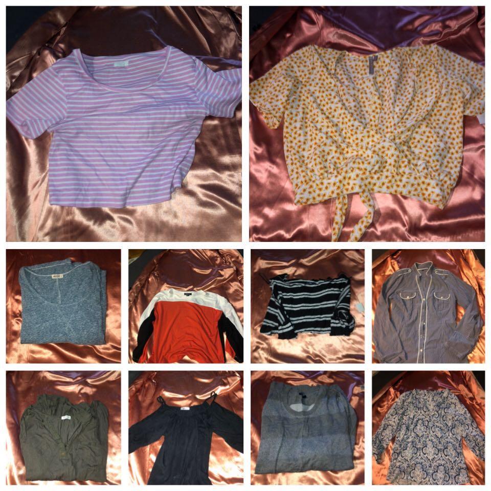 Long sleeve / short sleeve crop tops and tshirts