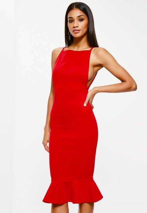 Missguided formal Red midi dress