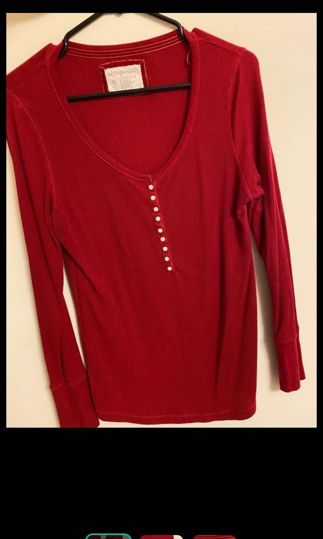 Red thermal long sleeve shirt