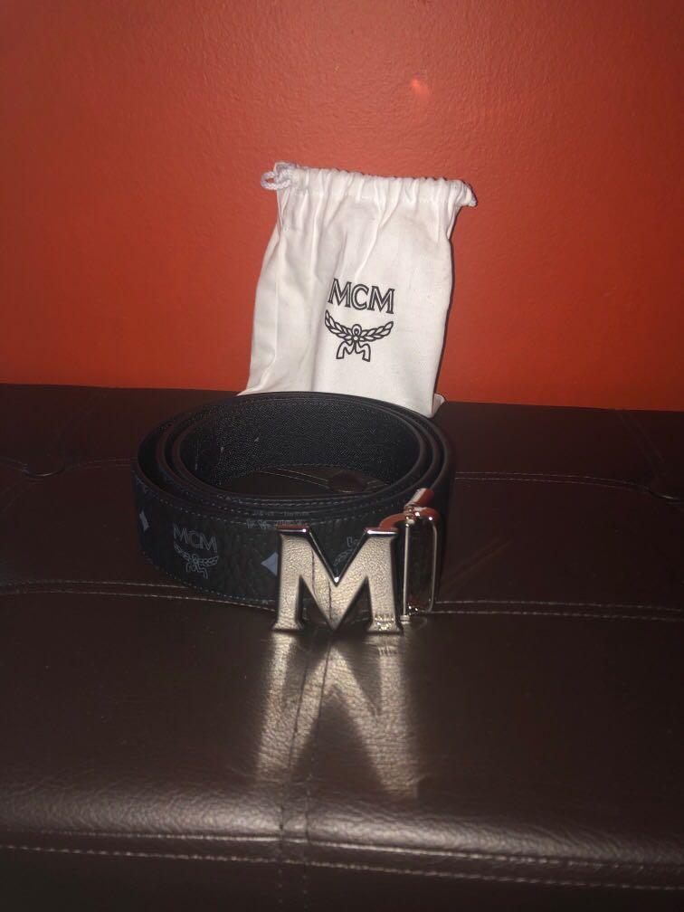 Silver and black MCM Belt
