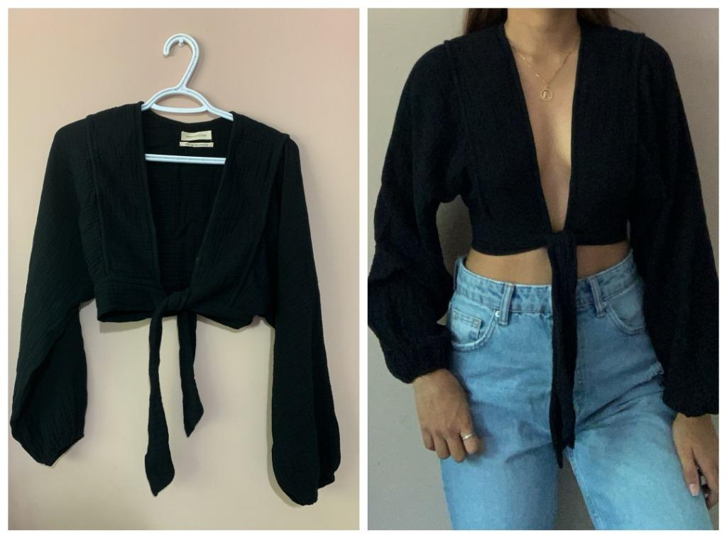 Tie Front Cropped Top (Urban Outfitters)