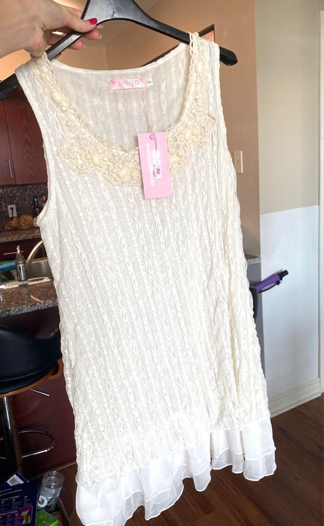 White Dress with lace - tags on - size small