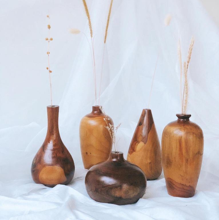Wooden Vase - Vas Bunga Kayu Jati Solid