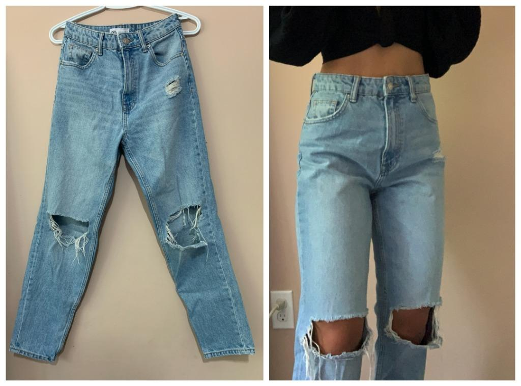 Zara High Waist Distressed Jeans