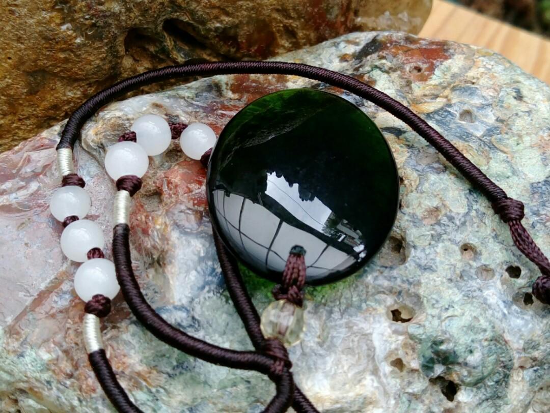 老珍藏天然冰種綠曜石玉墜項鍊/天然冰綠超漂亮,珍藏品出清