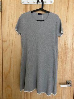 全新 Zara A字 傘狀 針織 厚實復古 撞色 灰色 洋裝