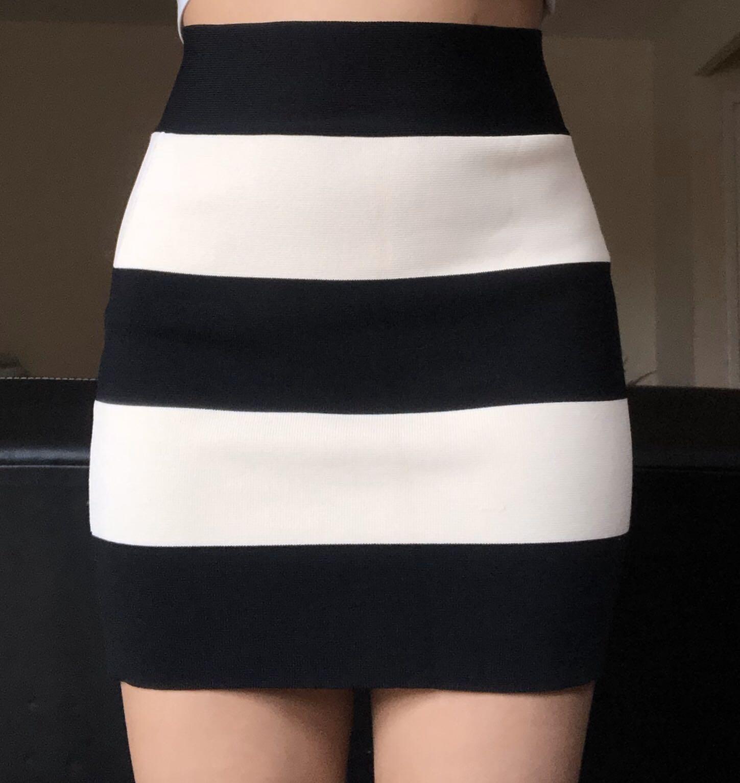 Black and white bodycon skirt