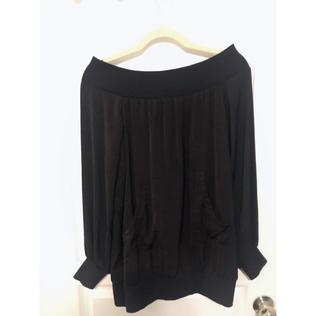 Black, Wide Shoulder Top