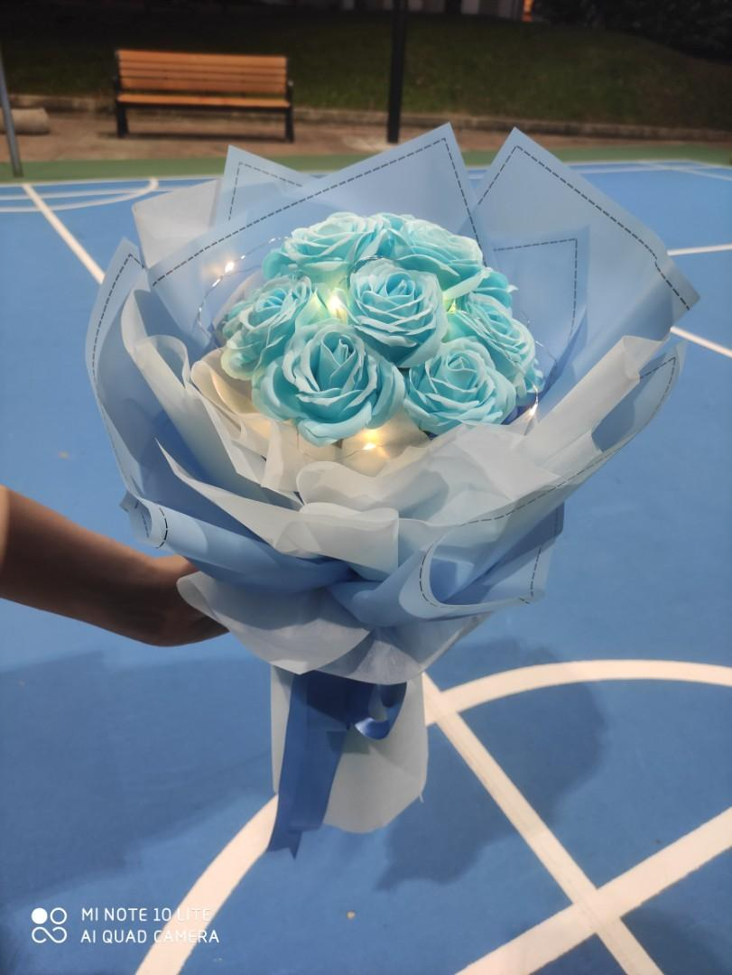 Blue Rose Flower Bouquet Gardening Flowers Bouquets On Carousell