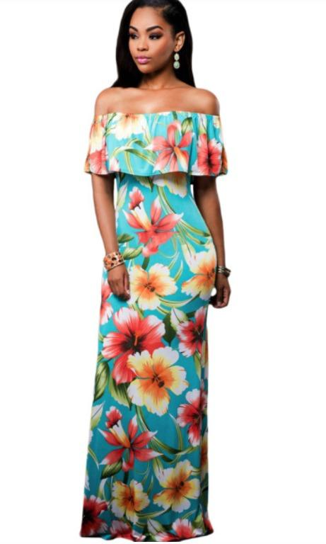 BNWT Turquoise Roses Print Off-the-shoulder Maxi Dress