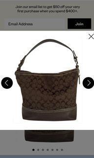 COACH 名牌包包 黑色帆布/皮革單肩包 Canvas/ Leather Shoulder Bag