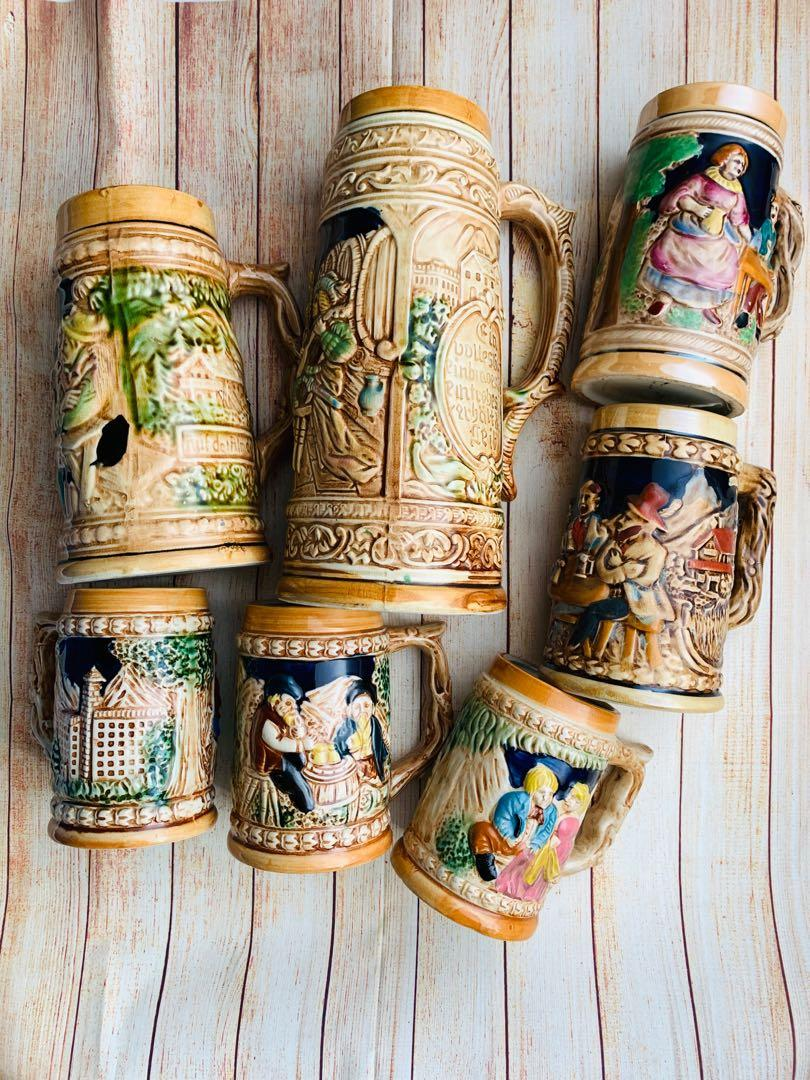 Vintage Decorative Beer Stein Mug Set Display Made In Japan Antiques Vintage Collectibles On Carousell