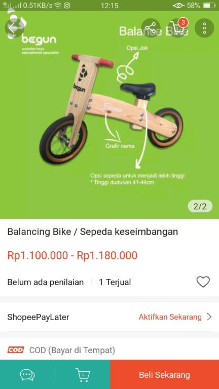 Dijual preloved Merk BEGUN balance bike balancing bike push bike