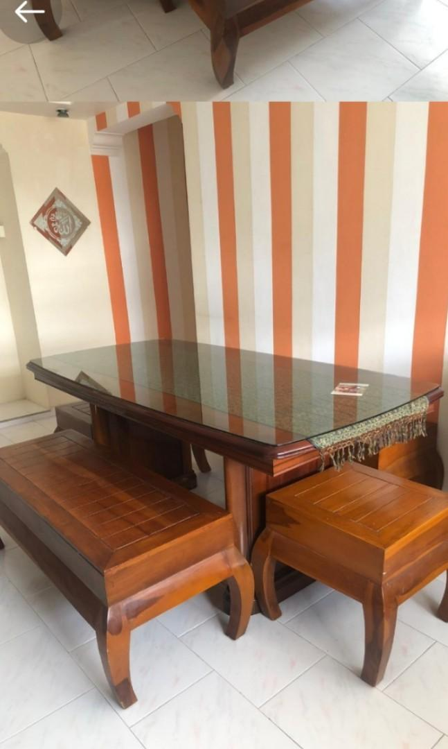 Dining Table With Storage Bench Furniture Tables Chairs On Carousell
