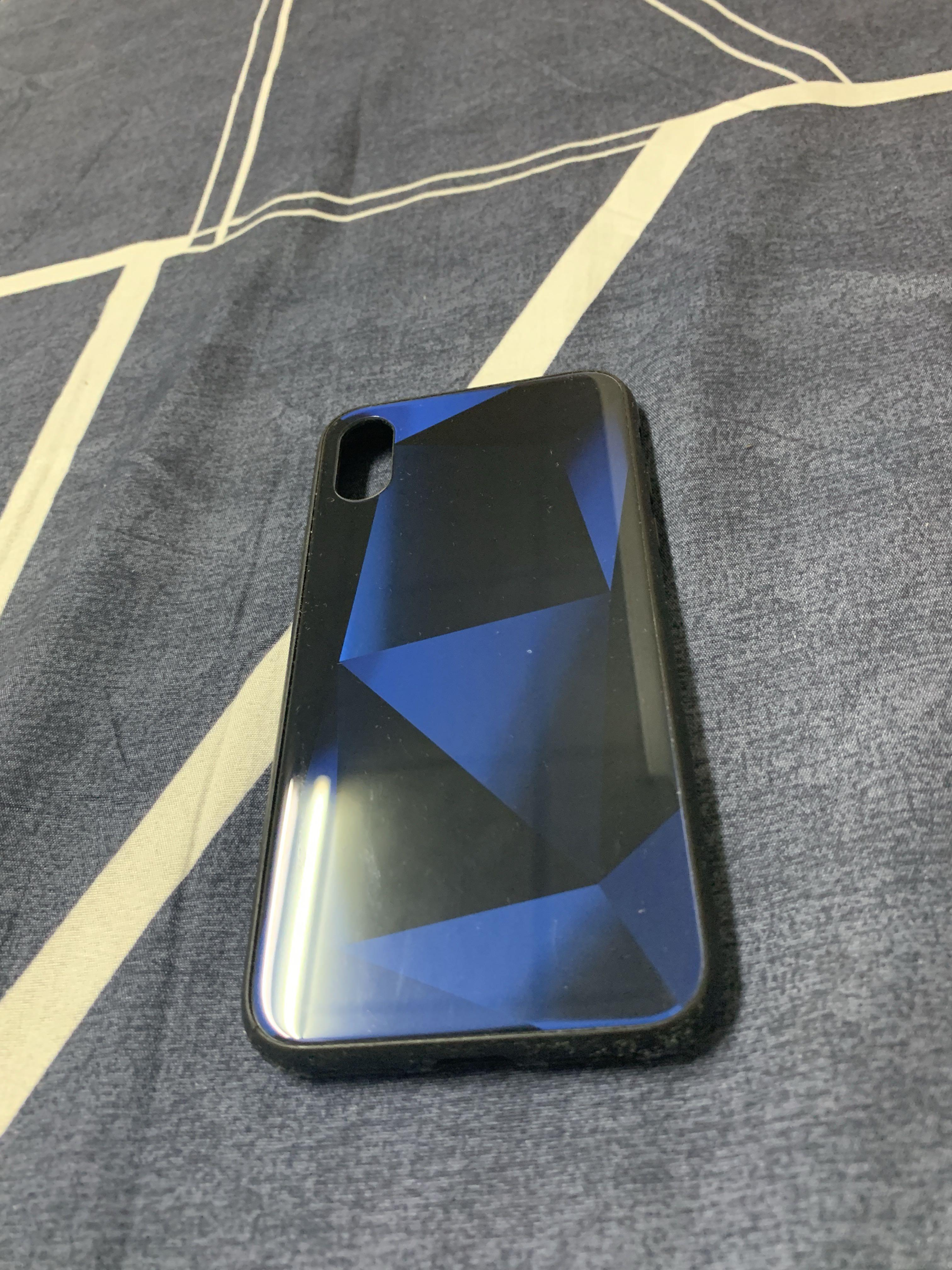 iPhone XS湛藍鏡面幾何手機保護殼
