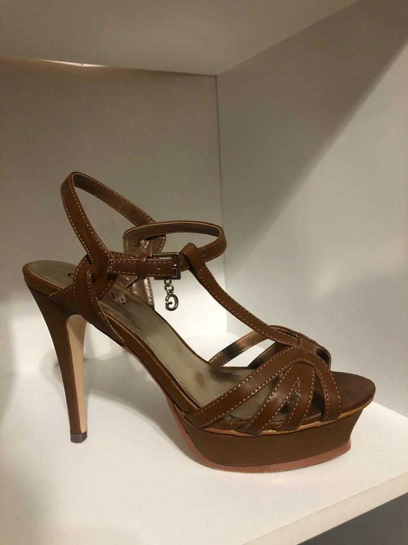 Light Brown Guess T Strap Strappy Heels - Size 8