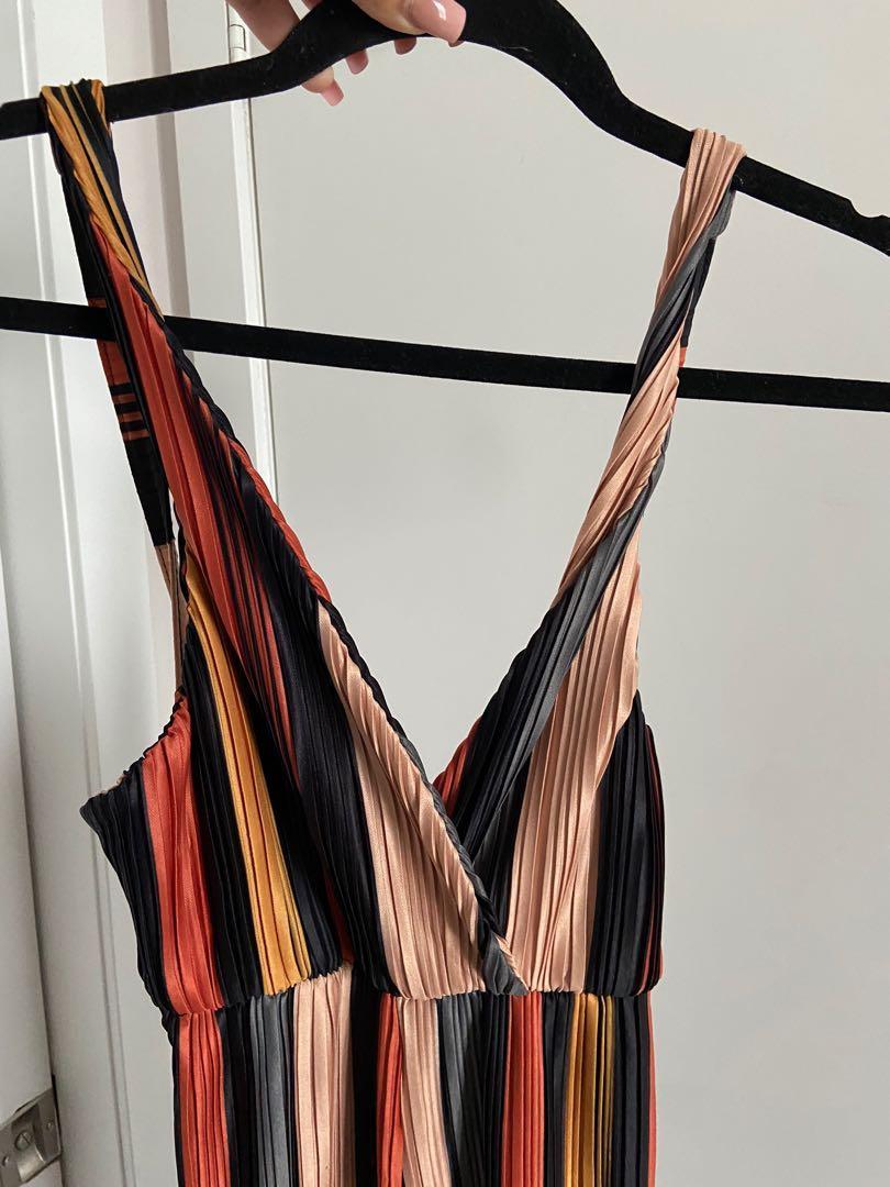 Multi color open back jumpsuit