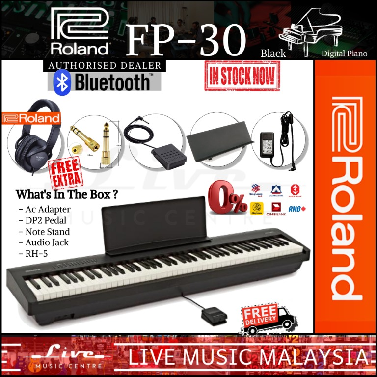 Roland Fp 30 88 Key Digital Piano With Piano Bench Rh5 Headphone And Adapter Black Fp30 Music Media Music Instruments On Carousell