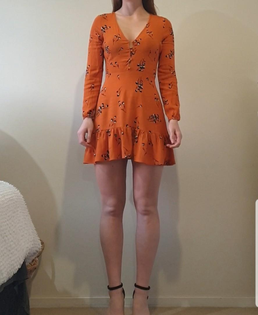 Size 8 Orange Tea Dress