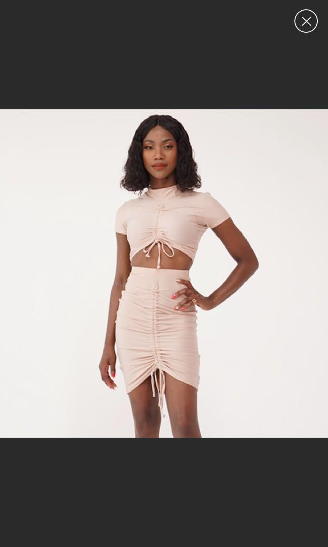 Soft pink two piece skirt set