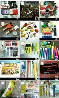 Stationery - chalk, highlighter, pencil case, notepad, clip & binder