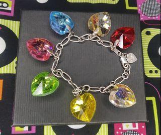 925 BRACELET w/ Heart Crystal Charms