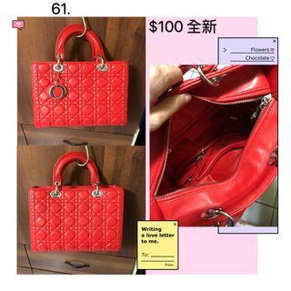 全新//紅色方包手提包