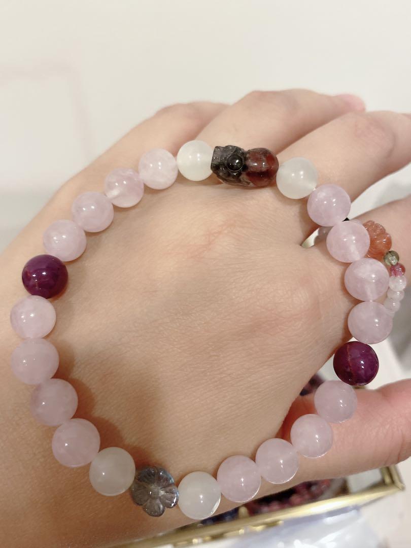 療癒水晶 能量寶石💎 水晶寶石手珠(紫粉晶+藍暈拉長石小花+極光23貔貅+紫雲母+白月光)