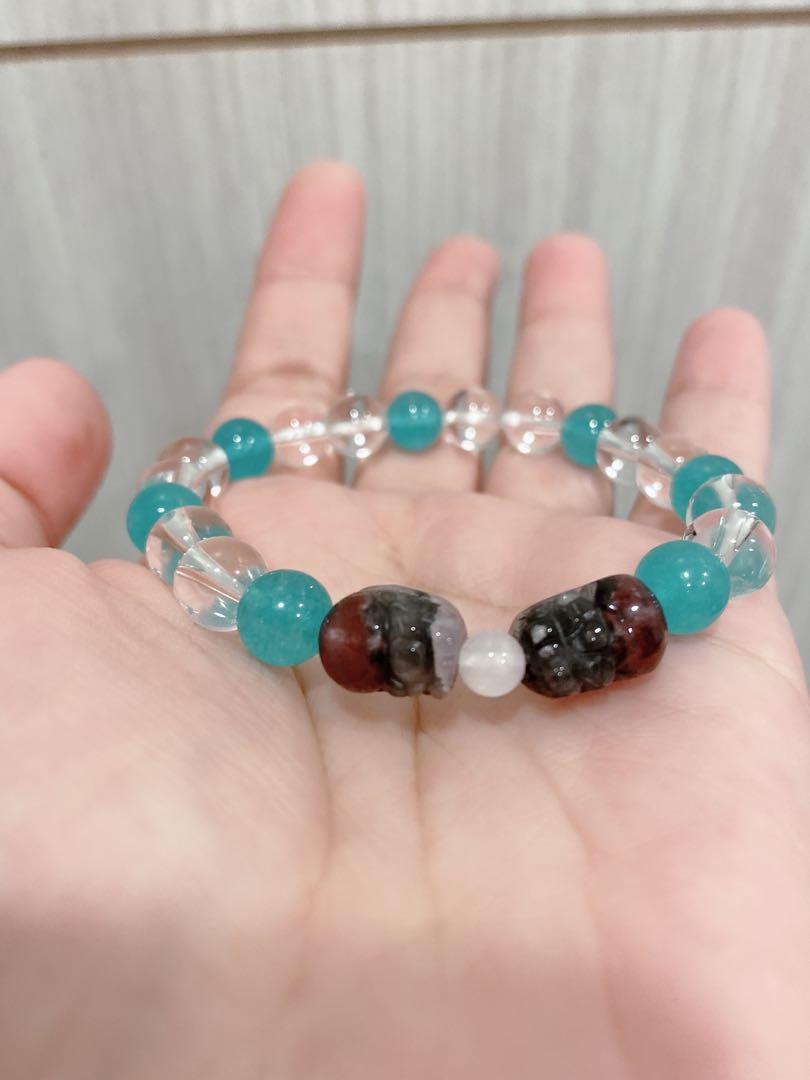(特價)療癒水晶 能量寶石💎 極光23雙貔貅 白水晶 天河石